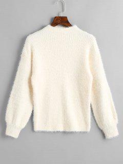Slash Neck - Einfacher Pullover - Beige (weis)