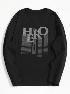 Rhinestone Long Sleeve T-shirt - Black 2xl
