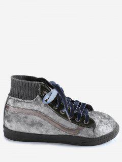 Zapatos Casuales De Gamuza De Encaje Con Cordones - Plata 35