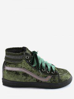 Lace Up Color Block Suede Casual Shoes - Army Green 36