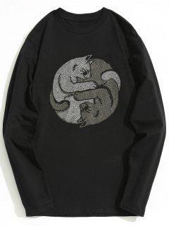 Cotton Rhinestone Long Sleeve Tee - Black 2xl