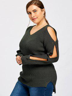 Plus Size Slit Sleeve V Neck Sweater - Black 3xl