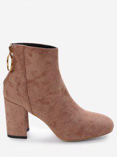 Chunky Heel Back Zip Boots - Brown 36