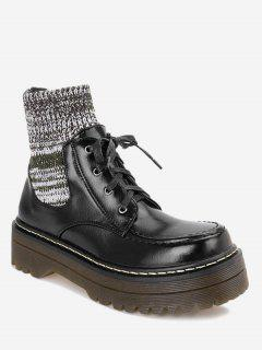 Knitted Panel Faux Leather Ankle Boots - Black 36