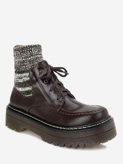 Knitted Panel Faux Leather Ankle Boots - Deep Brown 36
