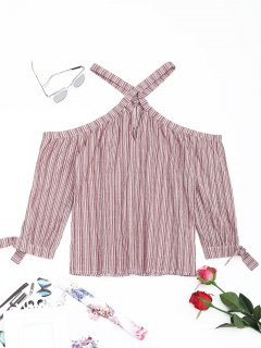 V Neck Cut Out Striped Blouse - Stripe L