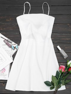 Tied Bowknot Back Mni Cami Dress - White L