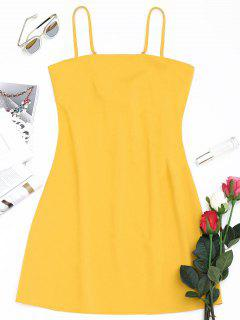 Tied Bowknot Back Mni Cami Dress - Yellow L