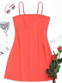 Schliefe Am Rücken Mini Cami Kleid - Wassermelone-rot L