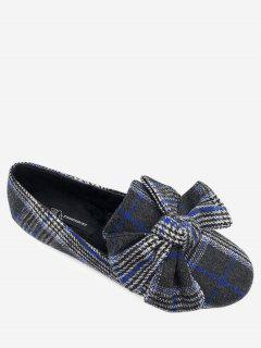 Bow Houndstooth Tartan Tweed Ballet Flats - Blue 36