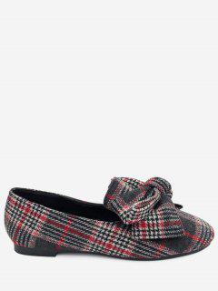 Bow Houndstooth Tartan Tweed Ballet Flats - Red 36