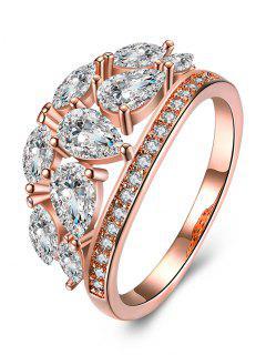 Imitation Diamond Inlay Ring - Rose Gold And White 9