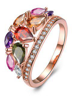 Imitation Diamond Inlay Ring - Multi 8