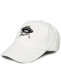 Funny UFO Pattern Decoration Adjustable Baseball Cap - White
