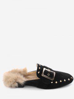 Buckle Strap Rivets Faux Fur Flats - Black 36