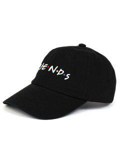 FRIENDS Pattern Embroidery Gorra De Béisbol Ajustable - Negro