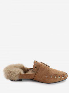 Buckle Strap Rivets Faux Fur Flats - Brown 37