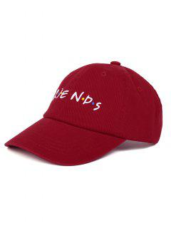 FRIENDS Pattern Embroidery Casquette De Baseball Ajustable - Rouge Vineux