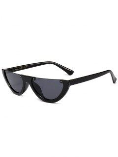 Anti-fatigue Half Frame Cat Eye Sunglasses - Bright Black+grey