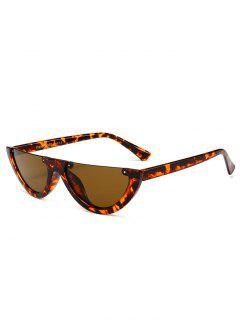Anti-fatigue Half Frame Cat Eye Sunglasses - Beancurd Flower+dark Brown