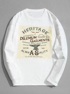 Long Sleeve Cotton Graphic Tee - White 2xl