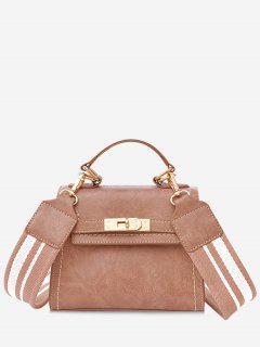 Stripe Strap Hasp Vintage Crossbody Handbag - Pink