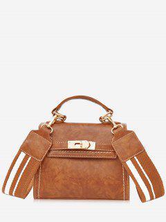 Stripe Strap Hasp Vintage Crossbody Handbag - Brown