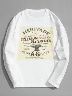 Camiseta Estampada De Algodón De Manga Larga - Blanco M