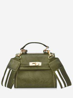 Stripe Strap Hasp Vintage Crossbody Handbag - Green
