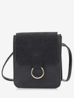 Metal Hoop Small Crossbody Bag - Black
