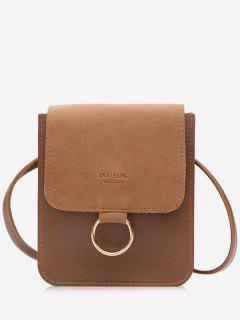 Metal Hoop Small Crossbody Bag - Brown