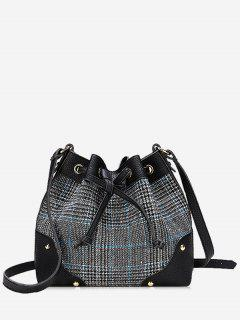 Drawstring Plaid Crossbody Bucket Bag - Black