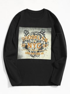 Tiger Graphic Long Sleeve Tee - Black L