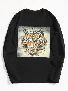 Tiger Graphic Long Sleeve Tee - Black M
