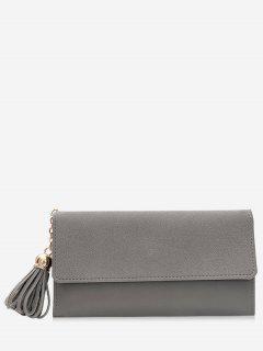 Tassel Pendant Long Wallet - Gray