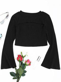 Cut Out Front Flare Sleeve Crop Knitwear - Black L