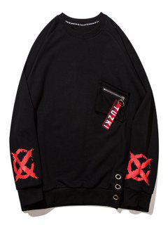 Zipper Design Pocket Graphic Sweatshirt - Black L