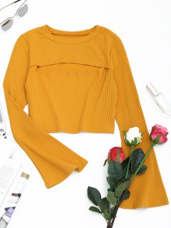 Cut Out Front Flare Sleeve Crop Knitwear - Earthy M