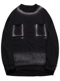 Letter Ombre Pockets Sweatshirt - Black 2xl