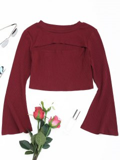 Cut Out Front Flare Sleeve Crop Knitwear - Wine Red S