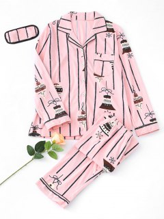 Bells Striped Pajama Set - Pink L