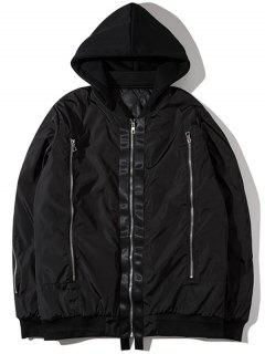 Hooded Graphic Padded Bomber Jacket - Black M
