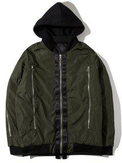 Hooded Graphic Padded Bomber Jacket - Army Green M