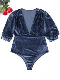 Slip Taille Haute Et Haut En Velours Avec Encolure En V  - Bleu-gris S