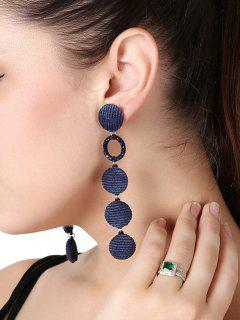 Faux Crystal Geometric Round Drop Earrings - Blue