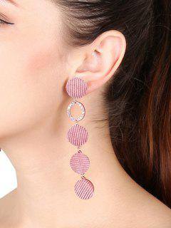 Faux Crystal Geometric Round Drop Earrings - Pink