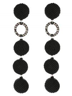 Faux Crystal Geometric Round Drop Earrings - Black