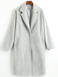 Manteau Simple à Col Tailleur à Bouton-Pression - Gris Clair L