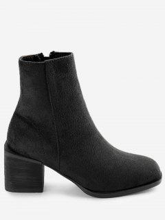 Faux Suede Zip Block Heel Ankle Boots - Black 39
