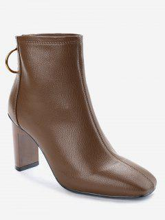 Square Toe High Heel Short Boots - Brown 36